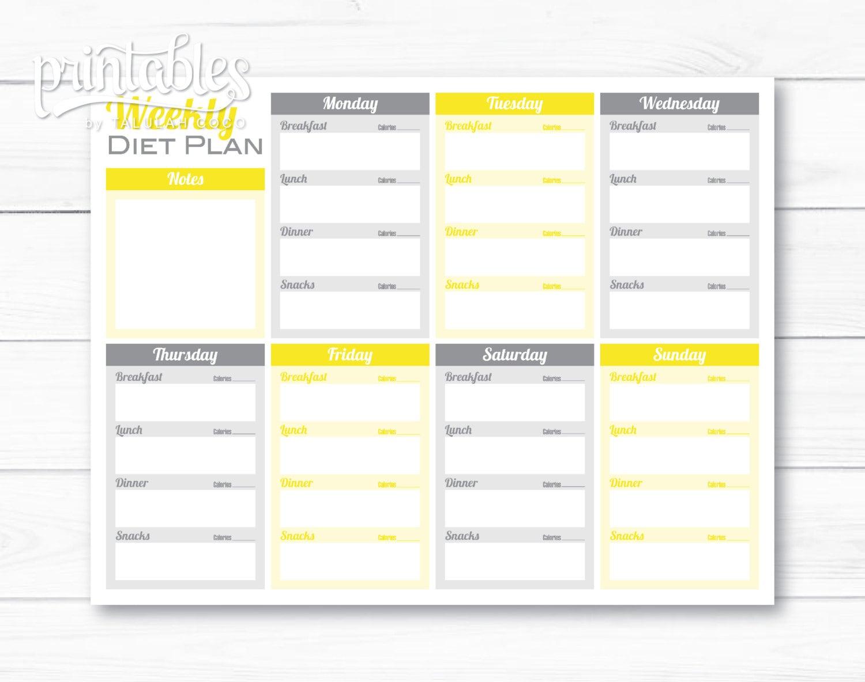 weekly dinner menu planner template