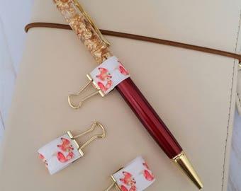 Foxy Planner Pen Holder / Binder Clip Pen Holder / Travelers Notebook Pen Holder / Happy Planner Pen Holder / Elastic Ribbon Pen Holder