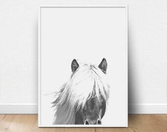 Peekaboo Print, Printable Art, Horse Art, Nordic Decor, Wall Art, Scandinavian Art, Digital Download, Animal Print, Black and White Photo