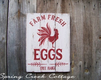 Chicken Coop, Chickens, Fresh Farm Eggs, Chicken Coop Decor, Rustic, Handpainted, Wall Hangings, Farmhouse Decor, Red Rooster, Home Decor