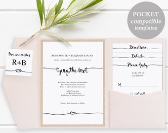 Pocket Wedding Invitation Set, Printable Wedding Invitation Template, DIY Wedding Cards, Instant Download, tie tying the knot, #SPP009wip