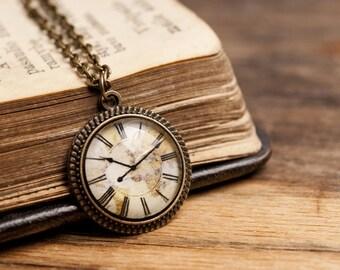 Tiny vintage clock necklace, brass pendant, glass dome pendant, antique bronze pendant, antique brass necklace, vintage clock necklace