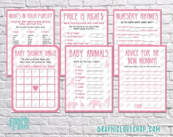 Digital Set of 6, 5x7 Pink Baby Girl Shower Games & Advice for Mom Card | PDF File, Instant Download, Ready to Print