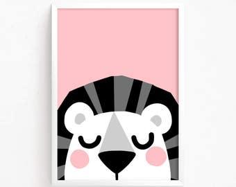Sale 50% Off - Pink baby Lion Poster Cute Printable art animal poster illustration baby room print nursery art Instant Download Digital file