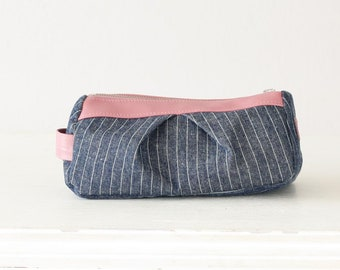 Accessory bag striped blue jeans and pink leather, makeup bag cosmetic case bridemaids gift zipper pouch - Estia Bag