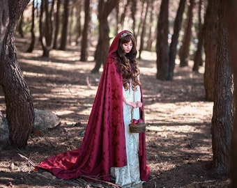 Bridal red cloak bourgundy damasc with hood long hooded cape