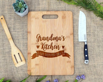 Grandma's Kitchen - Love served Daily Cutting Board, Personalized, Cheese Board, Custom, Present, Gift, Birthday, Mother's Day, Granny, Gram