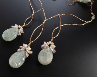 Green Kyanite Necklace with Keshi Pearls and Aquamarine in Gold, Gift for Her, Statement Necklace, June Birthstone