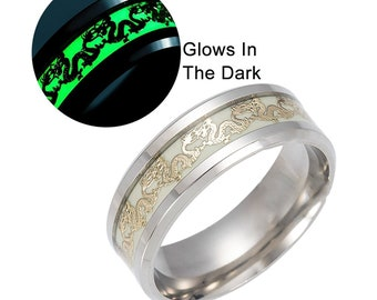 Dragon Glow in the Dark Stainless Steel Comfort Fit Band Ring - Ginger Lyne Collection