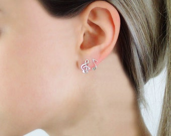 925 Sterling Silver Treble Clef and Music Note Earrings