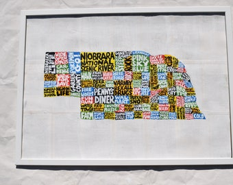 Nebraska Map Wall Art | NE poster | acrylic painting | home decor, map of Nebraska