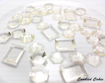 CLEAR EDIBLE SUGAR Jewels - Cupcake Toppers, Wedding Cake Decorations, Candy or Dessert Table, Sugar Gems, Featured in Brides Magazine