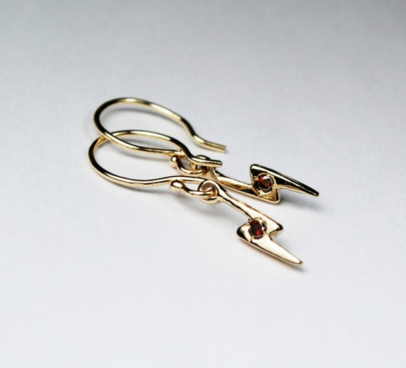 Gold & Cognac Diamond Lightning Bolt Dangle Earrings