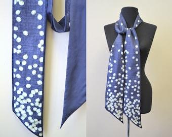 Vintage Navy Printed Silk Sash