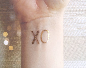 xo temporary tattoo metallic temporary tattoos x o tattoos silver and gold tattoos valentines gift bachelorette party hugs kisses happytatts
