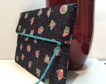 Japanese fabric clutch, FOLDOVER CLUTCH, envelope clutch, zipper clutch, fabric clutch purse, casual clutch, one of a kind bag