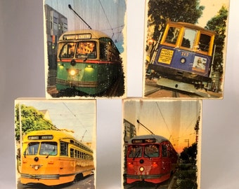 San Francisco Transportation - Ornament / Mini Distressed Photo Transfers on Wood - Choose