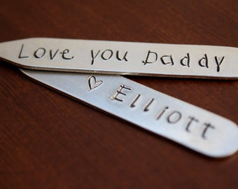 Personalized Metal Collar Stays with Kids Font, Father's Day Gift for Dad