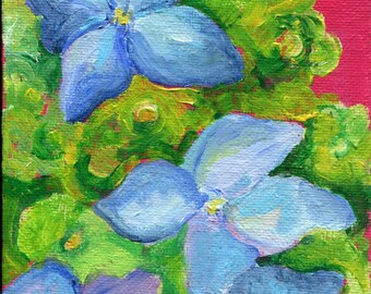 Hydrangeas painting ART original painting on canvas panel, Small flower artwork, Hydrangea Flower Decor, acrylic painting canvas art
