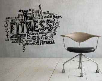 fitness motivation wall decal vinyl stickers sport gym words