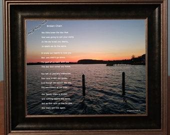 Broken Chain Sympathy Poem & Photo Personalized Condolence Gift