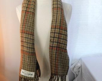 Vintage Brown Tan Plaid Wool  Fringe Scarf - Pierre Cardin Made in Paris