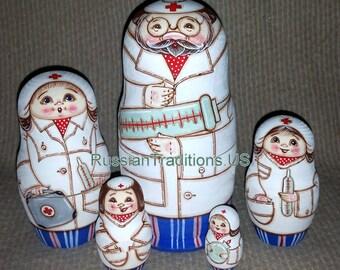 Doctors on Five Russian Nesting Dolls. (Nurses).
