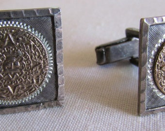 Sterling Silver Cuff Links with 10K Gold Aztec Calender Design