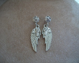 Silver Wing Earrings, Silver Wings with Rose Necklace, Angel Wings, Large Wings, Ear Studs, Jewelry by Brenda's Beading on Etsy