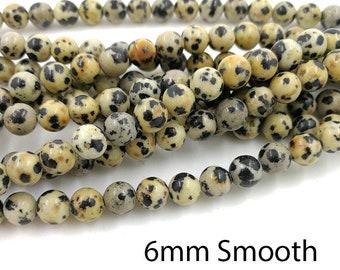 1 Full Strand 6mm Dalmatian Jasper Smooth Round Beads Round Dalmation Jasper Beads