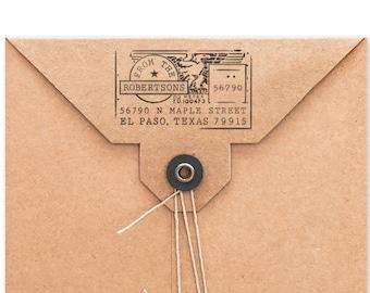 Personalized Address Stamp, Custom Stamp, Family Address Stamp, USPS Meter Design, DIY Printing, Housewarming, Original, Wood Mounted Stamp