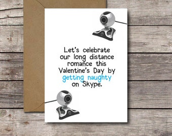 Lets Celebrate Our Long Distance Romance by Getting Naughty on Skype / Long Distance Valentines Day Card / Dirty Webcam Sexy /  JPG Download