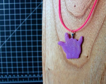 "Purple ""I love you"" sign language heart necklace"
