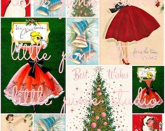 Vintage Christmas Greetings collage sheet (printable, digital download)