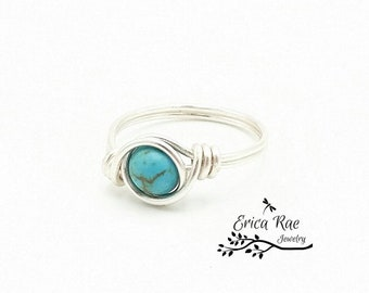 Stabilized turquoise beaded wire wrapped ring,  boho ring,  wire wrap ring,  wire jewelry,  beaded ring,  turquoise jewelry, boho jewelry