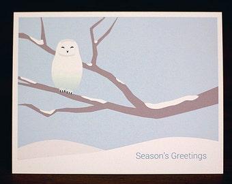 Snowy Owl Christmas Cards - Minimalist Holiday Card Set of 6