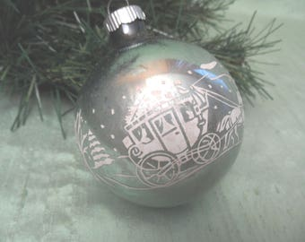 Horse and carriage stenciled glass ornament / As Is vintage Shiny Brite Christmas ornament bauble ball