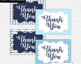 Instant Download Blue Navy Deer Woodland Party Thank You cards Thank You notes Birthday party DIY Printable (SWW304)