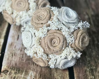 Burlap & Ivory Bridesmaids Bouquets (Choose Size) 1 Bouquet : Burlap Bridesmaids Bouquets, Burlap Wedding Bouquets, Burlap Bouquets