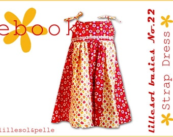 Ebook pdf sewing pattern lillesol basic No.22 Strap Dress / Girls dress pattern / summer dress / Instant Download  / photo instruction /