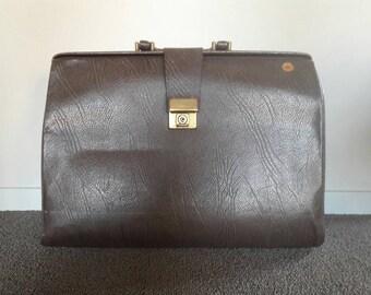 Old Dark Brown Leather Doctor Bag '70