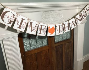 Rustic Thanksgiving Decor - Give Thanks Banner - Thanksgiving Banner - Fall Garland - Fall Decorations - Fall Banner - Turkey Banner