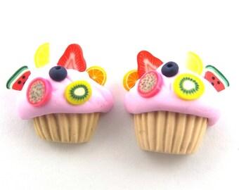 1 Pair cupcake charm earring studs