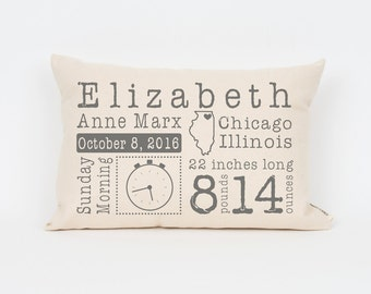 Unique Baby Gift, Baby Stats Pillow, Custom Baby Pillow, New Baby Gift , Gift for New Mom, Baby Pillow, Baby Boy Gift, Nursery Decor