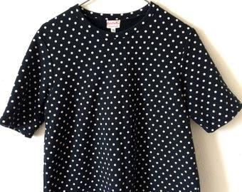 90s Black White Polka Dot Print Short Sleeve Sweatshirt Psych Goth Punk