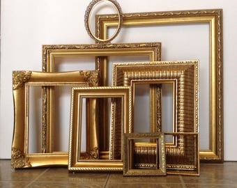 Gold Wall Frame Gallery - Picture Frames & Open Wall Frames - Set of 8 Oval Rectangle