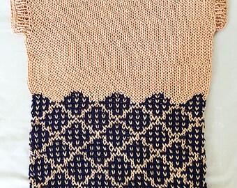 Mosaic tee - size S, M, L - tee pattern - knitting pattern - PDF - Aran Tunic Vest Sweater Jumper Pullover - woman tee - intarsia pattern