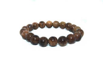 ON SALE Natural Wood Beaded Bracelet