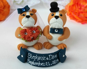 Bulldog wedding cake topper, navy blue wedding, customizable with banner