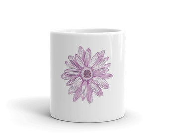 Coffee Mug, Purple Daisy Mug, Cute